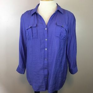Roz & Ali Periwinkle Roll Tab Sleeve Blouse Size L